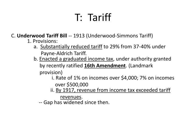 T:  Tariff