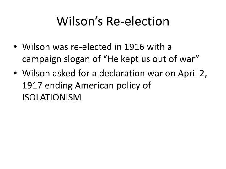 Wilson's Re-election