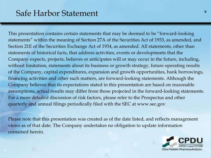Safe harbor statement