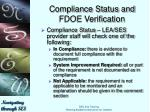 compliance status and fdoe verification