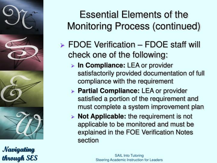 Essential Elements of the Monitoring Process (continued)