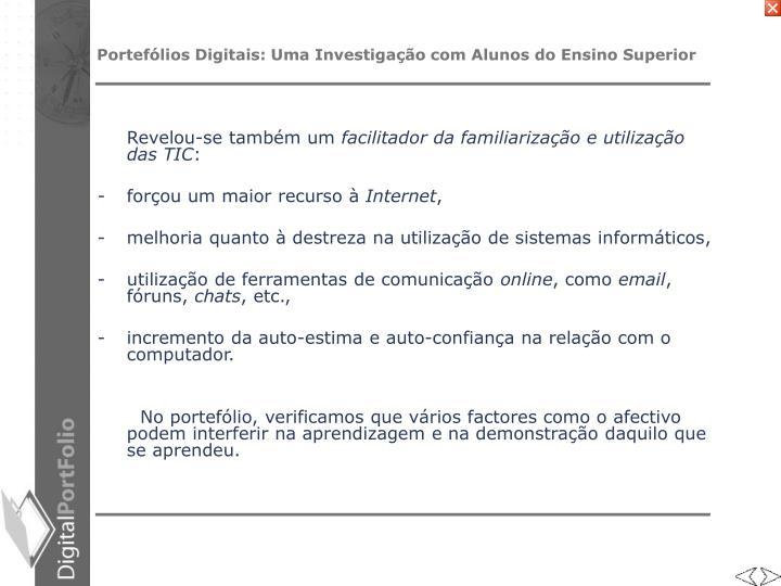 Portefólios Digitais: Uma Investigação com Alunos do Ensino Superior