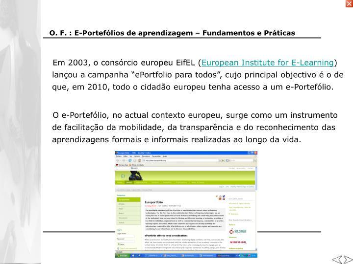 O. F. : E-Portefólios de aprendizagem – Fundamentos e Práticas