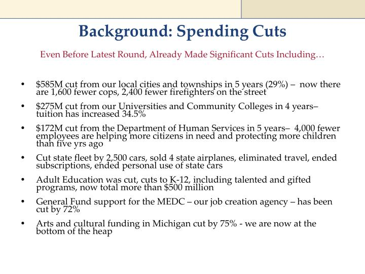 Background: Spending Cuts
