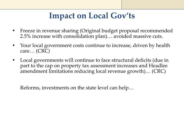 Impact on Local Gov'ts