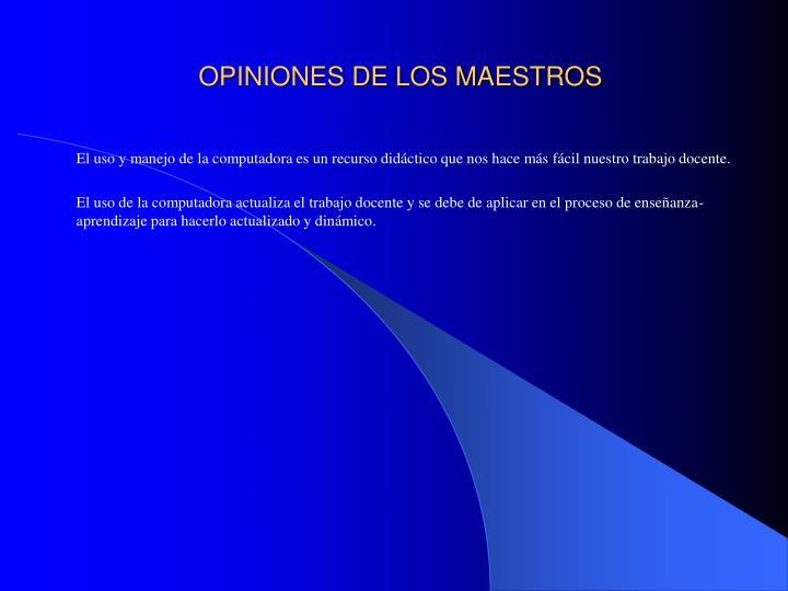 OPINIONES DE LOS MAESTROS