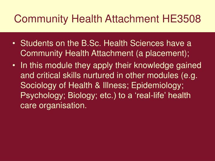 Community Health Attachment HE3508