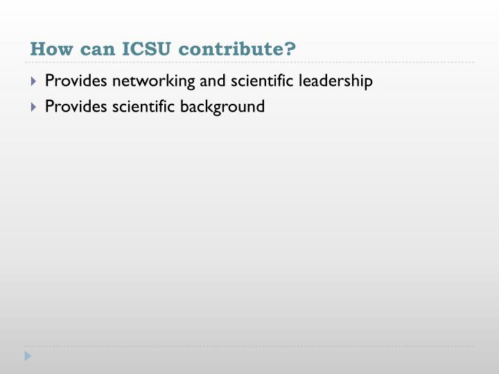 How can ICSU contribute?