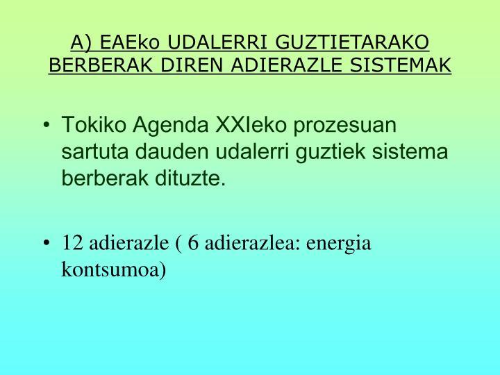 A) EAEko UDALERRI GUZTIETARAKO BERBERAK DIREN ADIERAZLE SISTEMAK
