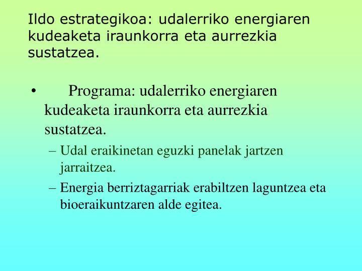 Ildo estrategikoa: udalerriko energiaren kudeaketa iraunkorra eta aurrezkia sustatzea.