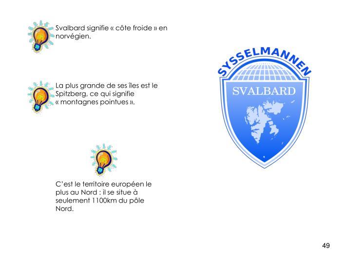 Svalbard signifie «côte froide» en norvégien.