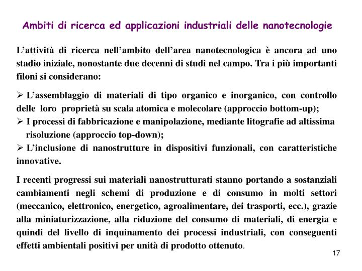 Ambiti di ricerca ed applicazioni industriali delle nanotecnologie