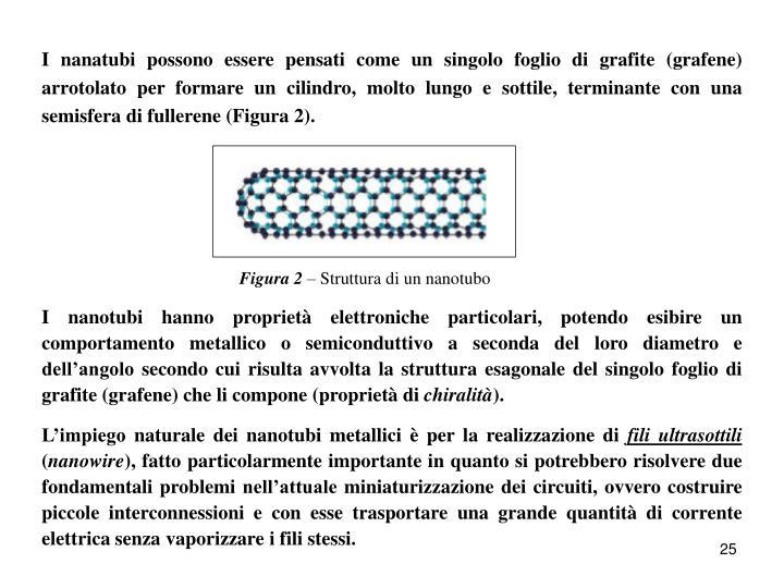 I nanatubi possono essere pensati come un singolo foglio di grafite (grafene) arrotolato per formare un cilindro, molto lungo e sottile, terminante con una semisfera di fullerene (Figura 2).