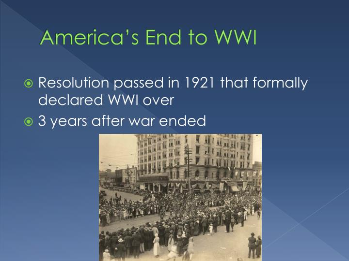 America's End to WWI