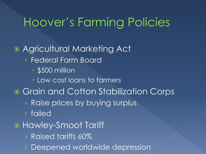 Hoover's Farming Policies