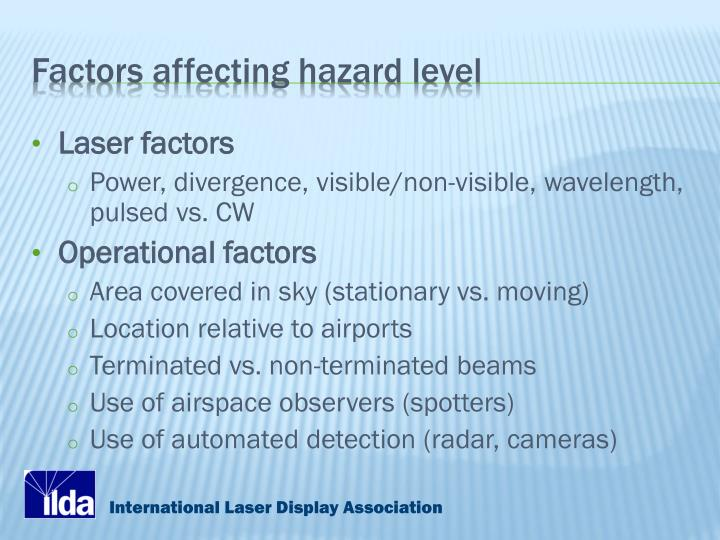 Factors affecting hazard level