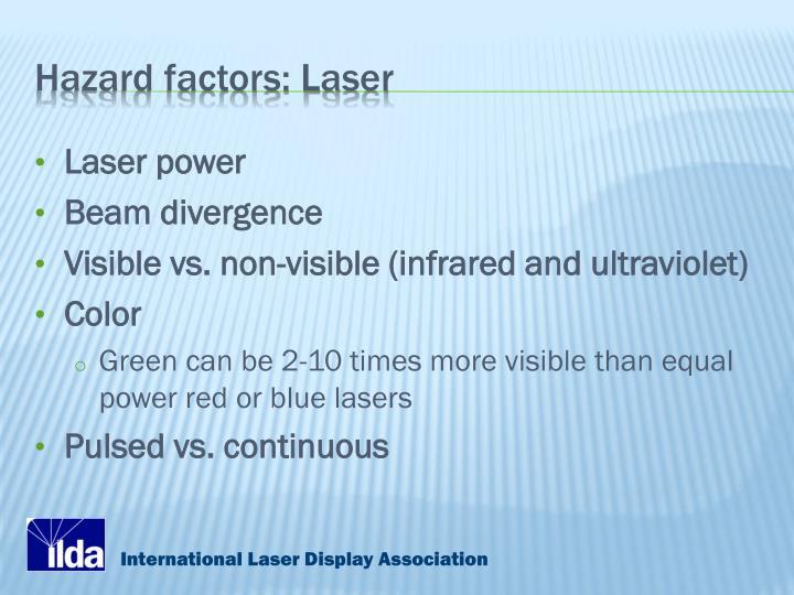 Hazard factors: Laser