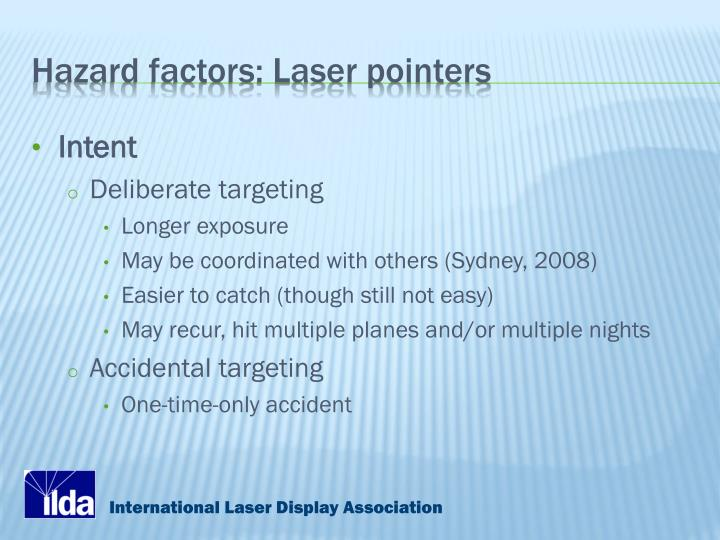 Hazard factors: Laser pointers