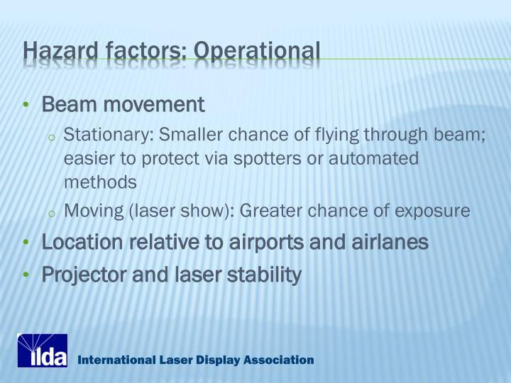 Hazard factors: Operational