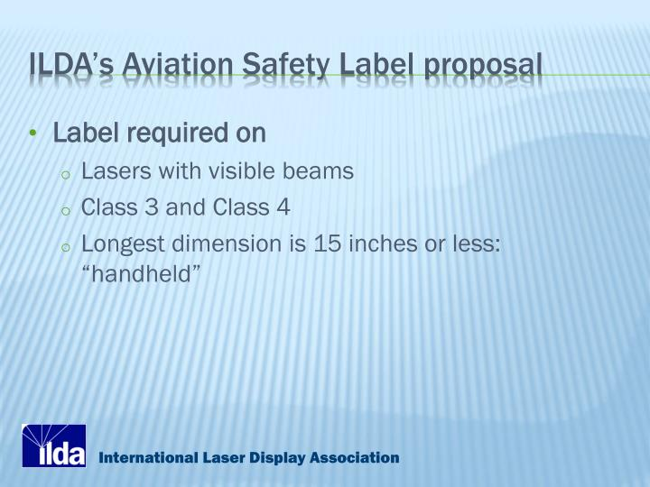 ILDA's Aviation Safety Label proposal