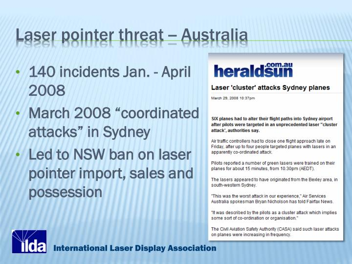 Laser pointer threat -- Australia