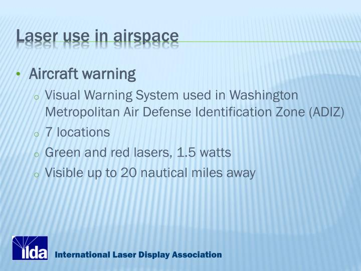 Laser use in airspace