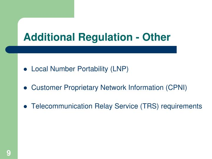 Additional Regulation - Other