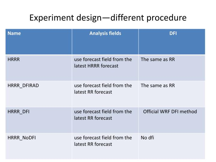 Experiment design different procedure