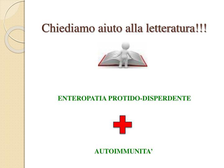 Chiediamo aiuto alla letteratura!!!