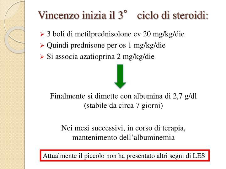Vincenzo inizia il 3° ciclo di steroidi: