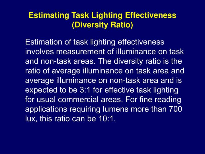 Estimating Task Lighting Effectiveness (Diversity Ratio)
