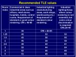 recommended tle values