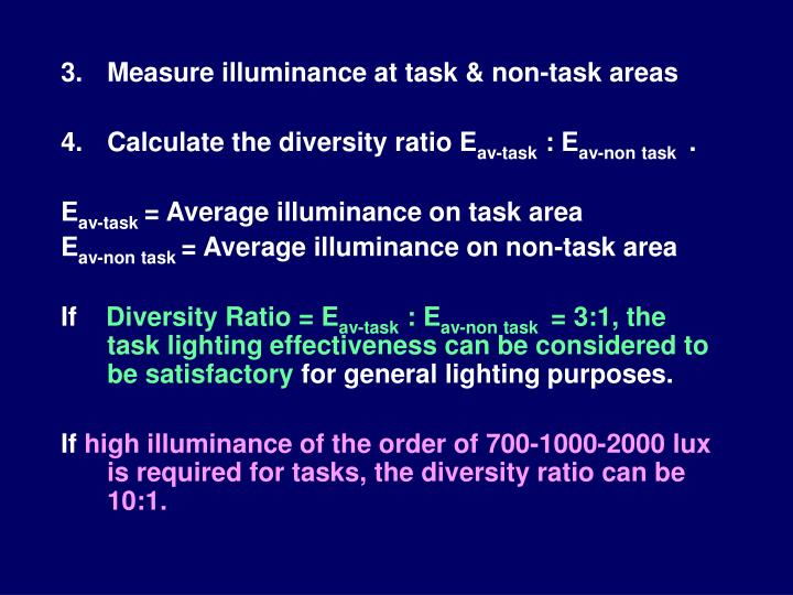 Measure illuminance at task & non-task areas