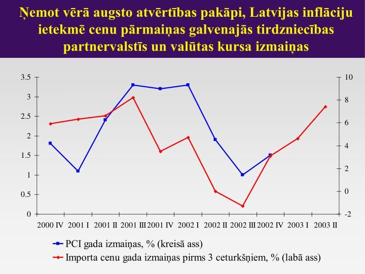 Ņemot vērā augsto atvērtības pakāpi, Latvijas inflāciju ietekmē cenu pārmaiņas galvenajās tirdzniecības partnervalstīs un valūtas kursa izmaiņas