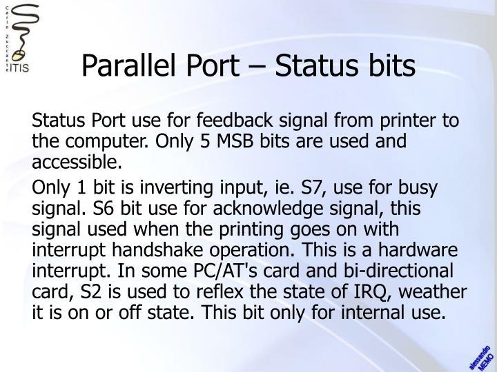 Parallel Port – Status bits