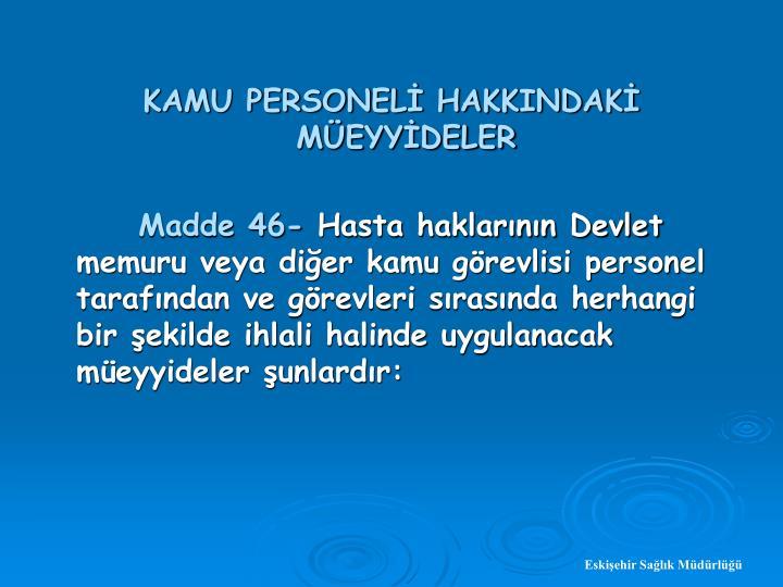 KAMU PERSONEL HAKKINDAK MEYYDELER