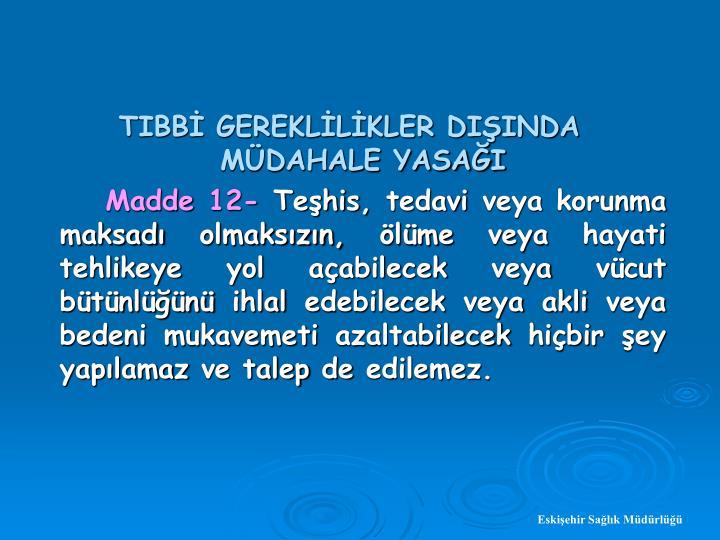 TIBB GEREKLLKLER DIINDA MDAHALE YASAI
