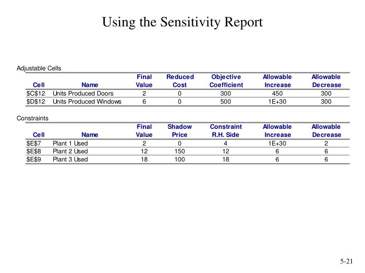 Using the Sensitivity Report