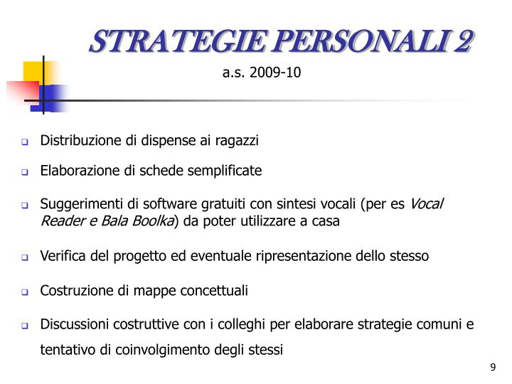 STRATEGIE PERSONALI 2