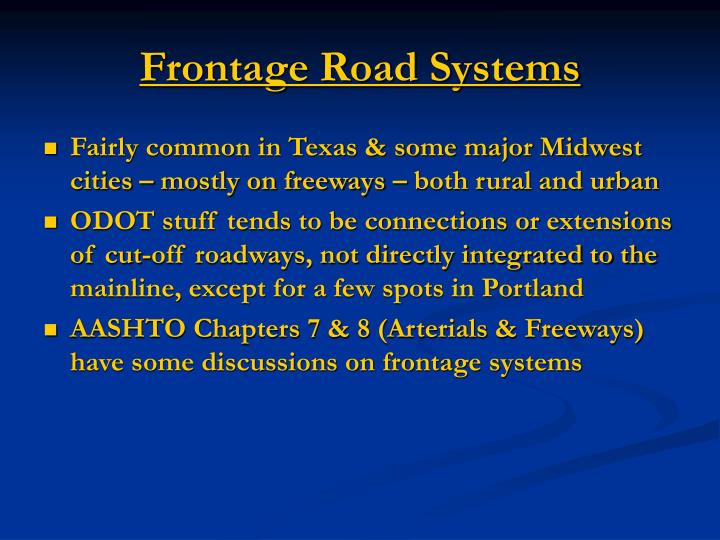 Frontage Road Systems