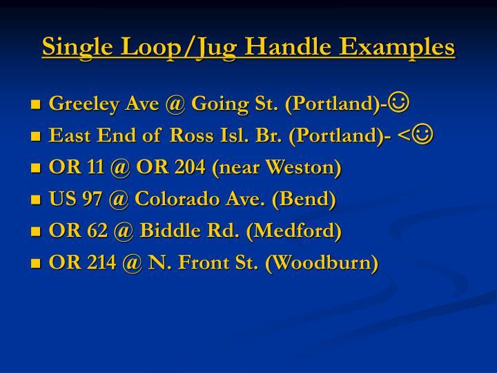 Single Loop/Jug Handle Examples