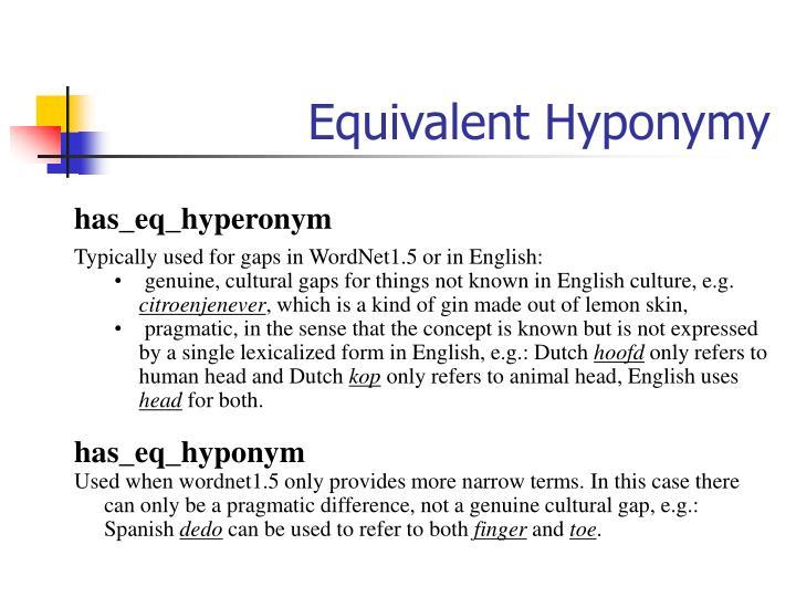 Equivalent Hyponymy