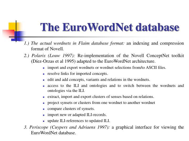 The EuroWordNet database