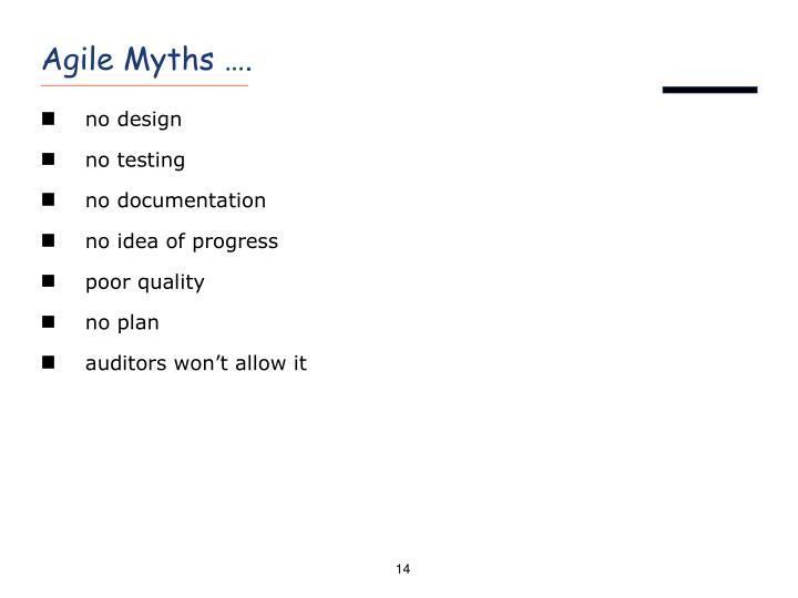 Agile Myths ….