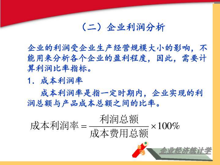(二)企业利润分析