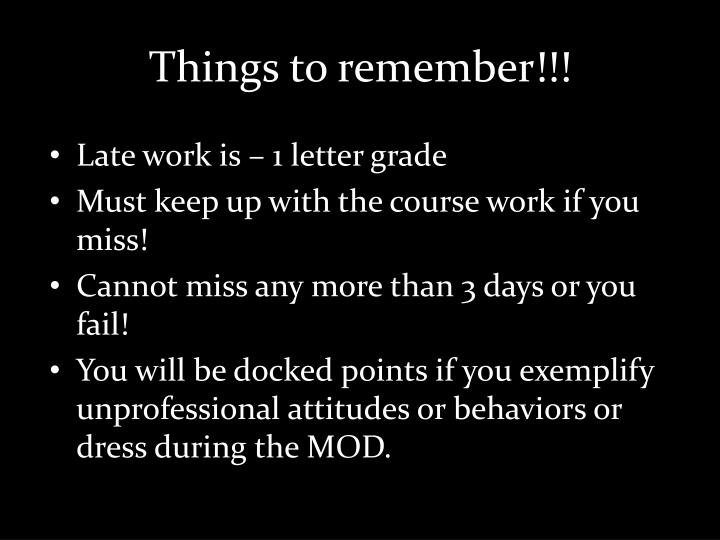 Things to remember!!!