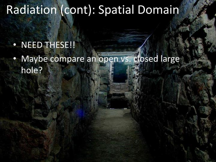 Radiation (cont): Spatial Domain