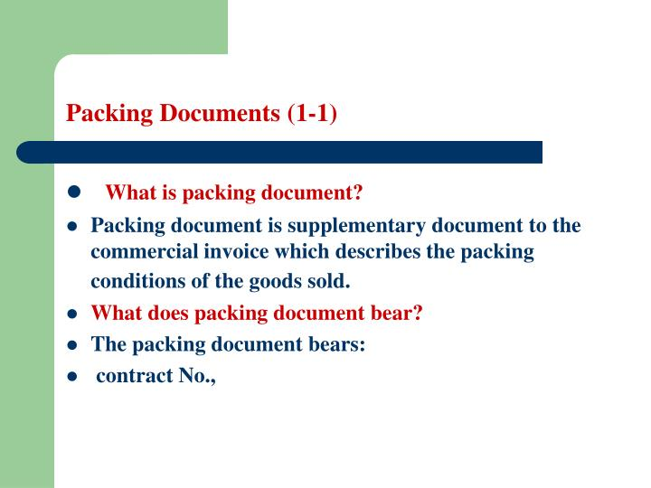 Packing documents 1 1