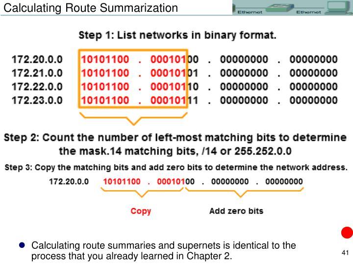 Calculating Route Summarization