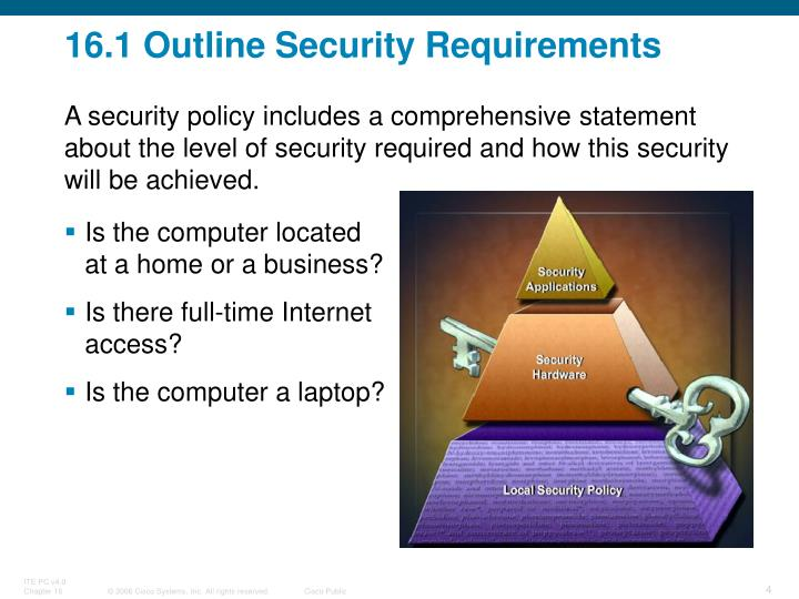 16.1 Outline Security Requirements